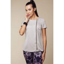Bluzki damskie: Bluzka z Asymetrycznym Długim Suwakiem - Szary