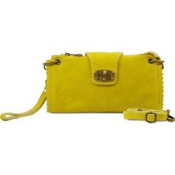 """Kopertówki damskie: Skórzana kopertówka """"Cristina"""" w kolorze żółtym – 25 x 13,5 x 2 cm"""