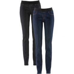 Wygodne jegginsy(2 pary) bonprix ciemnoniebieski + czarny. Niebieskie legginsy bonprix, z jeansu. Za 75,98 zł.