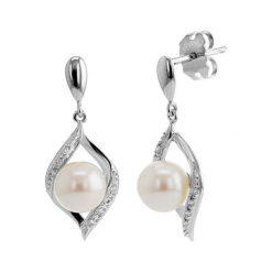 Kolczyki damskie: Srebrne kolczyki z cyrkoniami i perłami