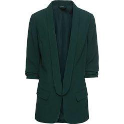 Długi żakiet z drapowanymi rękawami bonprix głęboki zielony. Zielone marynarki i żakiety damskie bonprix, eleganckie. Za 149,99 zł.
