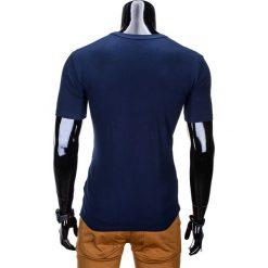 T-SHIRT MĘSKI Z NADRUKIEM S813 - GRANATOWY. Niebieskie t-shirty męskie z nadrukiem Ombre Clothing, m. Za 29,00 zł.
