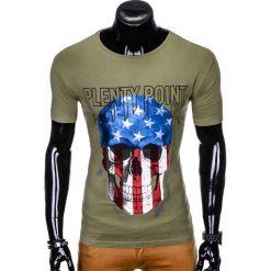 T-SHIRT MĘSKI Z NADRUKIEM S993 - KHAKI. Brązowe t-shirty męskie z nadrukiem Ombre Clothing, m. Za 29,00 zł.