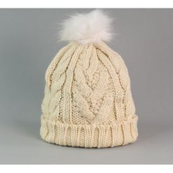 Czapka damska i biały króliczy pompon beżowa (cz2505). Białe czapki zimowe damskie Art of Polo. Za 36,52 zł.