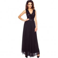 Czarna Elegancka Maxi Sukienka z Koronkową Górą. Czarne długie sukienki Molly.pl, xl, w koronkowe wzory, z koronki, eleganckie, z kopertowym dekoltem, bez rękawów, kopertowe. Za 349,90 zł.