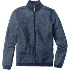 Sweter rozpinany ze stójką Regular Fit bonprix ciemnoniebieski melanż. Niebieskie golfy męskie marki bonprix, m, z haftami, ze stójką. Za 79,99 zł.