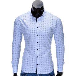 KOSZULA MĘSKA ELEGANCKA Z DŁUGIM RĘKAWEM K314 - BŁĘKITNA. Brązowe koszule męskie na spinki marki Ombre Clothing, m, z aplikacjami, z kontrastowym kołnierzykiem, z długim rękawem. Za 69,00 zł.