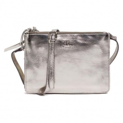 Skórzana torebka w kolorze srebrnym - (S)22,5 x (W)16,5 x (G)5 cm. Szare torebki klasyczne damskie Tosca Blu, w paski. W wyprzedaży za 289,95 zł.