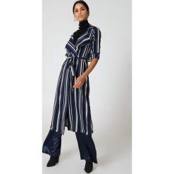Płaszcze damskie pastelowe: Hot & Delicious Płaszcz w paski Duster – Multicolor,Navy