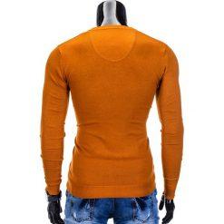 SWETER MĘSKI E74 - RUDY. Brązowe swetry klasyczne męskie Ombre Clothing, m, z bawełny, z dekoltem w serek. Za 49,00 zł.