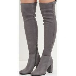 Ciemnoszare Kozaki I Don't Care. Szare buty zimowe damskie marki Born2be, z materiału, z okrągłym noskiem, za kolano, na wysokim obcasie, na obcasie. Za 139,99 zł.