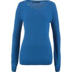 Swetry klasyczne damskie: Sweter w strukturalny wzór bonprix lazurowy