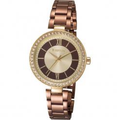 """Zegarek kwarcowy """"Elite"""" w kolorze brązowo-złotym. Brązowe, analogowe zegarki damskie METROPOLITAN, metalowe. W wyprzedaży za 173,95 zł."""
