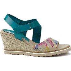 Rzymianki damskie: Skórzane sandały w kolorze turkusowym