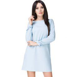 Błękitna Sukienka Wizytowa z Wiązaniami. Niebieskie sukienki balowe marki Molly.pl, na co dzień, l, z elastanu, z klasycznym kołnierzykiem, oversize. Za 159,00 zł.