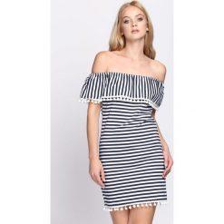 Sukienki: Biało-Granatowa Sukienka Blossoming