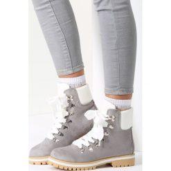 Jasnoszare Traperki Bye Bye Love. Brązowe buty zimowe damskie marki vices, z materiału, ze szpiczastym noskiem, na wysokim obcasie, na obcasie. Za 119,99 zł.