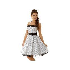Sukienka rozkloszowana PIN UP ED001-10. Czarne sukienki na komunię marki Ella dora, xl, w koronkowe wzory, z koronki, z falbankami, dopasowane. Za 229,00 zł.