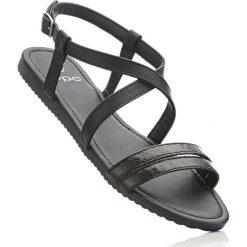 Sandały bonprix czarny. Czarne sandały damskie marki bonprix, w paski. Za 27,99 zł.