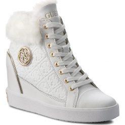 Sneakersy GUESS - FLFRR3 LEP12 WHITE. Czarne sneakersy damskie marki Guess, z materiału. Za 719,00 zł.