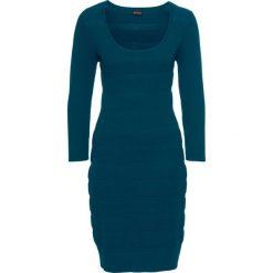 Sukienka dzianinowa bonprix niebieskozielony morski. Zielone sukienki dzianinowe bonprix, z okrągłym kołnierzem. Za 119,99 zł.