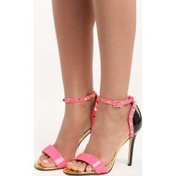 Fuksjowe Sandały Night of Hunter. Różowe sandały damskie marki Born2be, z lakierowanej skóry, na wysokim obcasie, na obcasie. Za 89,99 zł.