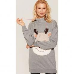Bluza ze świąteczną aplikacją - Jasny szar. Szare bluzy damskie House, l, z aplikacjami. Za 99,99 zł.