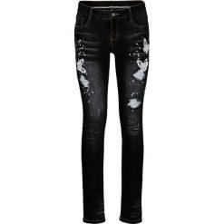 Dżinsy Skinny  z haftem bonprix ciemny denim. Niebieskie jeansy damskie skinny marki House, z jeansu. Za 179,99 zł.