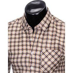 KOSZULA MĘSKA W KRATĘ Z DŁUGIM RĘKAWEM K429 - BEŻOWA/GRANATOWA. Brązowe koszule męskie na spinki marki Ombre Clothing, m, z długim rękawem. Za 59,00 zł.
