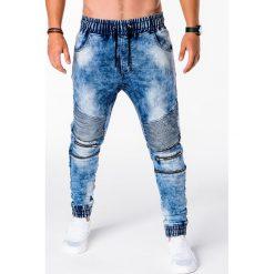 SPODNIE MĘSKIE JOGGERY P677 - NIEBIESKIE. Niebieskie joggery męskie Ombre Clothing, z bawełny. Za 89,00 zł.