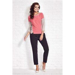 Bluzki asymetryczne: Różowa Bluzka z Kontrastowym Panelem z Przodu