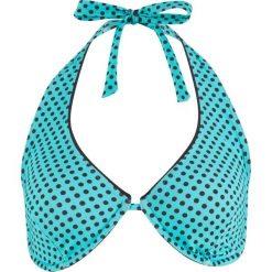 Biustonosz bikini na fiszbinach bonprix turkusowo-czarny z nadrukiem. Niebieskie bikini bonprix, z nadrukiem. Za 89,99 zł.