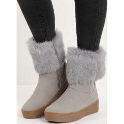 Szare Śniegowce Getting On. Szare buty zimowe damskie Born2be, z okrągłym noskiem, na platformie. Za 99,99 zł.