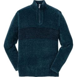 Swetry męskie: Sweter z szenili Regular Fit bonprix niebieskozielony