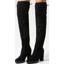 Czarne Zamszowe Kozaki More Strength. Czarne buty zimowe damskie marki Kazar, z futra, przed kolano, na wysokim obcasie, na koturnie. Za 94,99 zł.