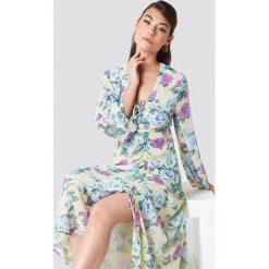 NA-KD Boho Sukienka maxi z marszczeniem - Multicolor. Niebieskie długie sukienki marki NA-KD Boho, na imprezę, w koronkowe wzory, z koronki, boho, na ramiączkach. Za 202,95 zł.