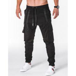 SPODNIE MĘSKIE JOGGERY P716 - CZARNE. Czarne joggery męskie marki Ombre Clothing, m, z bawełny, z kapturem. Za 74,00 zł.