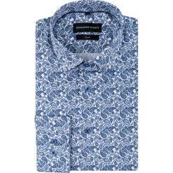 Koszula SIMONE slim KDWS000448. Niebieskie koszule męskie na spinki Giacomo Conti, m, paisley, z bawełny, z włoskim kołnierzykiem. Za 199,00 zł.