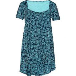 Tunika shirtowa, krótki rękaw bonprix morsko-ciemnoniebieski wzorzysty. Czarne tuniki damskie marki DOMYOS, z bawełny, street. Za 69,99 zł.
