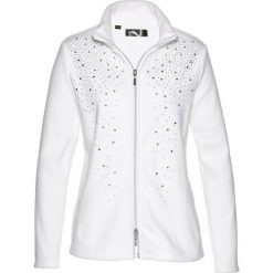 Bluza z polaru z połyskującymi kamieniami bonprix biel wełny - srebrny. Białe bluzy polarowe marki bonprix. Za 109,99 zł.