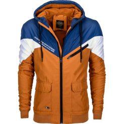 KURTKA MĘSKA PRZEJŚCIOWA C338 (II GATUNEK) - GRANATOWA. Białe kurtki męskie przejściowe Ombre Clothing, m, z polaru. Za 69,00 zł.