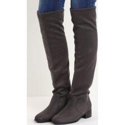 Szare Kozaki Deciduous. Szare buty zimowe damskie marki Born2be, za kolano, na płaskiej podeszwie. Za 94,99 zł.