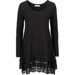 Tunika z koronką, długi rękaw bonprix czarny. Czarne tuniki damskie z długim rękawem bonprix, w koronkowe wzory, z koronki. Za 99,99 zł.