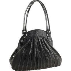 Torebki klasyczne damskie: Skórzana torebka w kolorze czarnym – 42 x 34 x 9 cm