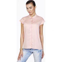 Koszule body: Różowa Koszula z Krytym Zapięciem z Krótkim Rękawem