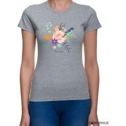 Koszulka damska. kwiaty i ptaki. Szare bluzki asymetryczne Pakamera, w kwiaty. Za 79,00 zł.