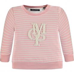 Bluza w kolorze jasnoróżowym. Białe bluzy dziewczęce rozpinane marki Marc O'Polo Junior, z nadrukiem, z okrągłym kołnierzem, z długim rękawem. W wyprzedaży za 62,95 zł.
