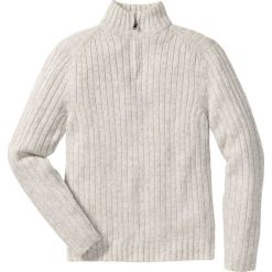 Sweter melanżowy ze stójką Regular Fit bonprix naturalny melanż. Białe swetry klasyczne męskie bonprix, l, melanż, z dzianiny. Za 89,99 zł.