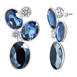 Kolczyki damskie: Powlekane kolczyki-wkrętki z kryształkami w kolorze niebieskim