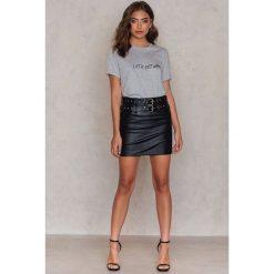 T-shirty damskie: Vanessa Moe x NA-KD T-shirt Let's Get NA-KD – Grey